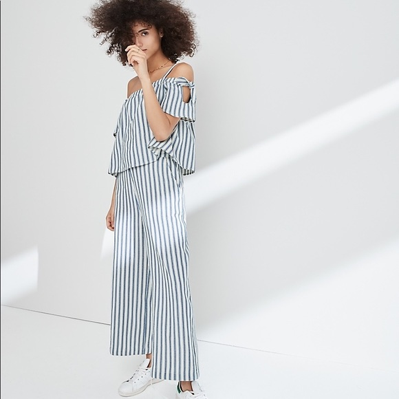 cd4d6a5270a Madewell Pants - Madewell Striped Cold-Shoulder Jumpsuit